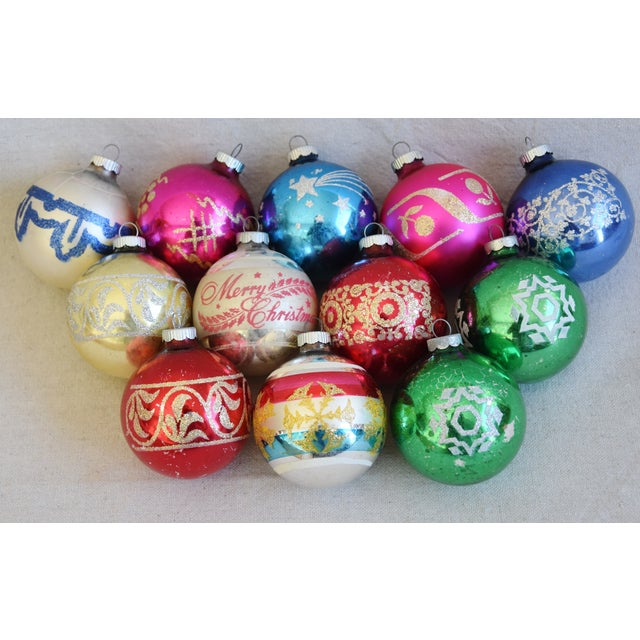 Glass Vintage Colorful Christmas Ornaments W/Box - Set of 12 For Sale - Image 7 of 7
