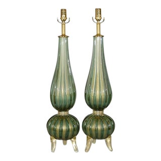 Murano Glass Footed Lamps Green & Gold