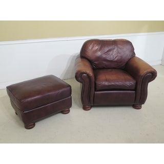 1990s Vintage Thomasville Leather Club Chair & Matching Ottman Preview