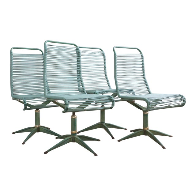 1950s Vintage Ames Aire Cabana Star Line Green Patio Chairs- Set of 4 For Sale