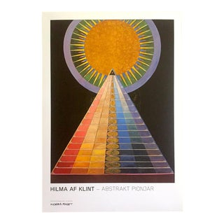 """Hilma Af Klint Swedish Abstract Lithograph Print Moderna Museet Exhibition Poster """" Altarpiece No.1 Group X """" 1915 For Sale"""