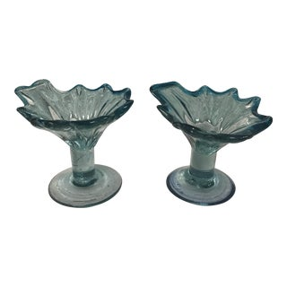 Blue Murano Glass Candy Dishes - A Pair For Sale