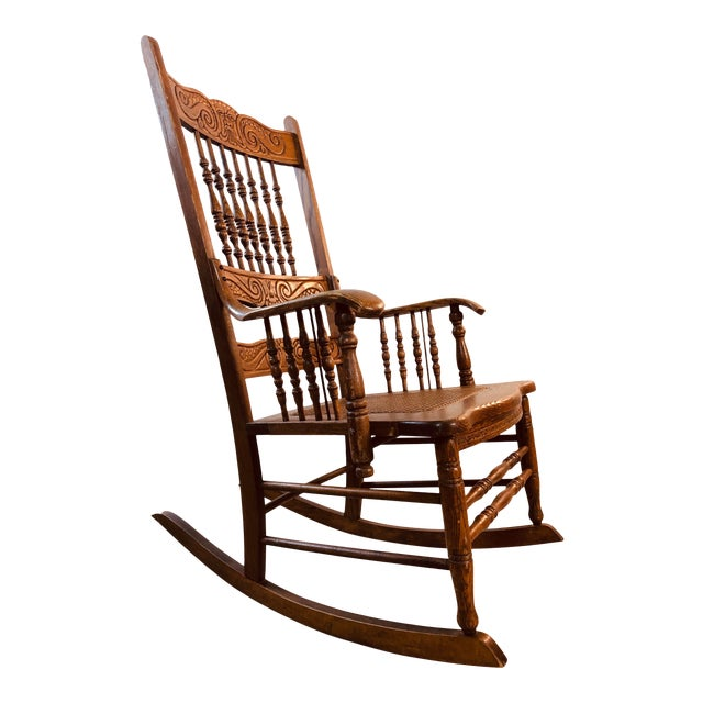 Quarter-Sawn Oak Hand Carved Rocking Chair For Sale