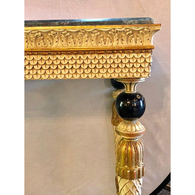 Gold Pair of Neoclassical Style Marble Top Consoles Attributed to Maison Jansen For Sale - Image 8 of 13