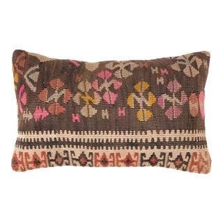 "Pop of Pink Vintage Kilim Lumbar Pillow | 12"" X 20"" For Sale"