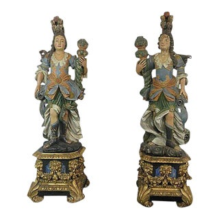18th C. Continental Figural Maiden Statues on Pedestals - a Pair