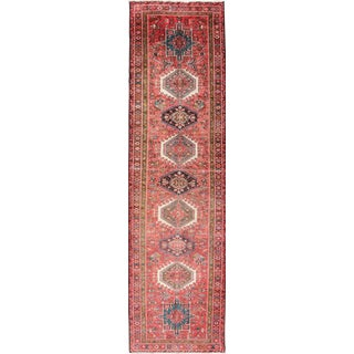 1950s Vintage Persian Multi-Medallion Karadjeh Runner Rug - 3′10″ × 14′3″ For Sale