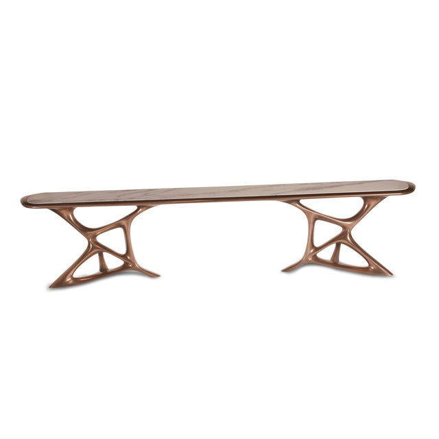 Amorph Custom Anika Console Table, Bronze Finish With White Marble Stone For Sale - Image 9 of 10