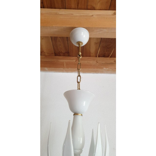 Large Mid-Century Modern 6 Lights Milk Murano Glass Chandelier by Venini For Sale - Image 9 of 11