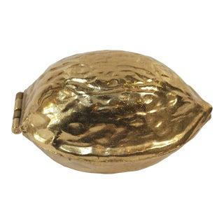 Vintage Brass Walnut Nutcracker For Sale