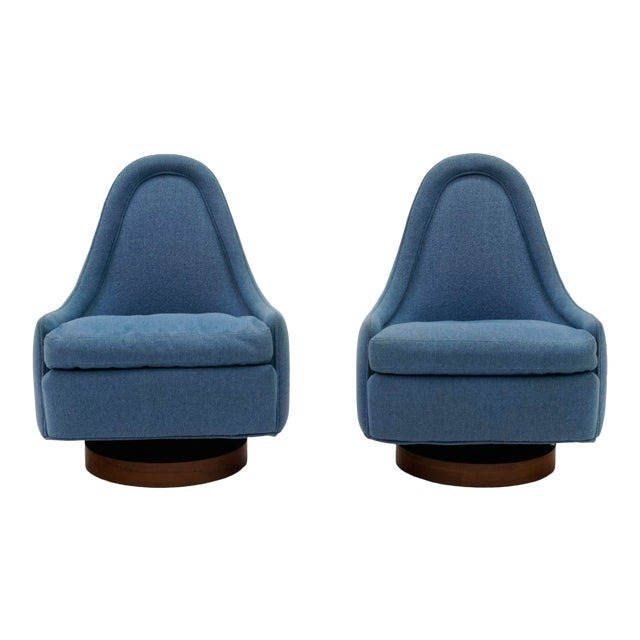 1960s Swivel Chairs by Milo Baughman for Thayer Coggin-a Pair For Sale