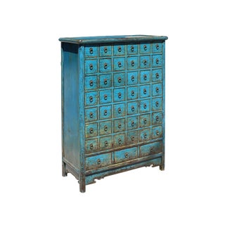 Chinese Distressed Bright Blue 45 Drawers Medicine Apothecary Cabinet For Sale