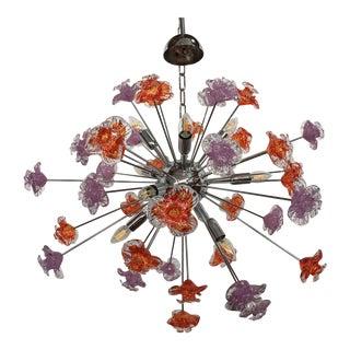 Murano Glass Triedo Sputnik Flower Chandelier For Sale