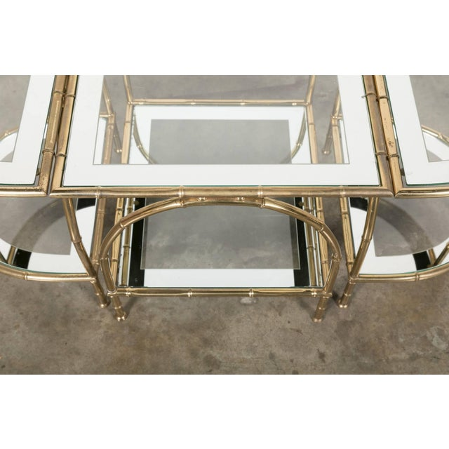 Hollywood Regency Maison Baguès Brass Faux Bamboo Three-Piece Coffee Table - 3 Pieces For Sale - Image 9 of 10