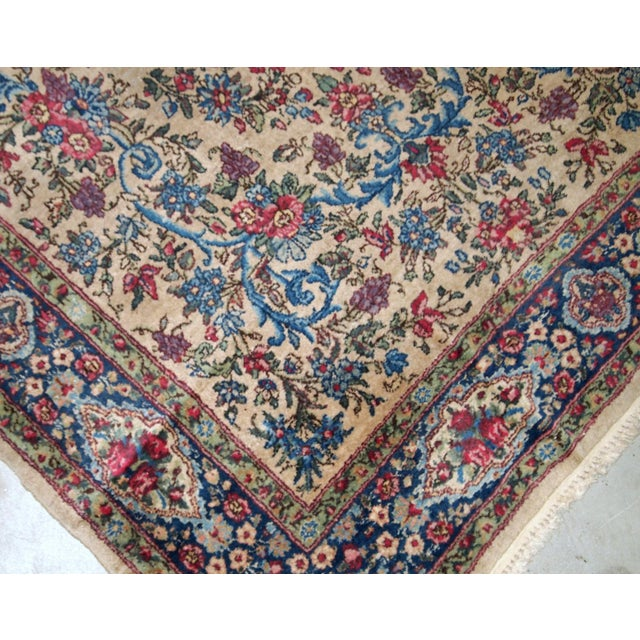 Beige 1920s, Handmade Antique Persian Kerman Rug 4.2' For Sale - Image 8 of 11