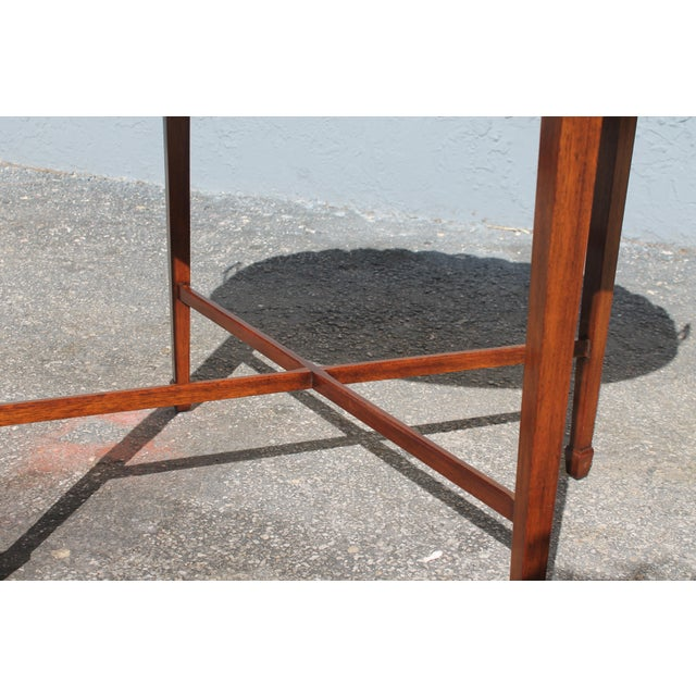 "Wood Mid-Century Modern Signed Baker ""Collectors Edition"" Exotic Burl Amboyna Tea Table For Sale - Image 7 of 13"