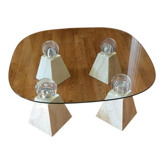 Vintage Travertine and Lucite Coffee Table For Sale