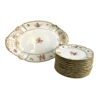 Early 20th Century Baroque Limoges Rose Dessert Platter & Dish Set - 13 Pieces For Sale