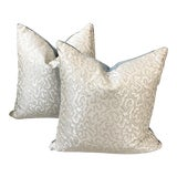 Image of Contemporary Scalamandre Oyster Silk Pillows - a Pair For Sale