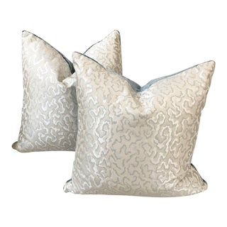 Contemporary Scalamandre Oyster Silk Pillows - a Pair