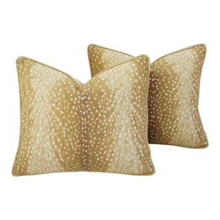 "Deer Antelope Fawn Spot Velvet Feather/Down Pillows 21"" X 18"" - Pair For Sale"