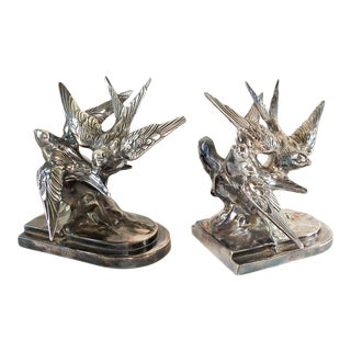 Vintage Pair C. 1930's Bird Swallow Bookends Chrome For Sale