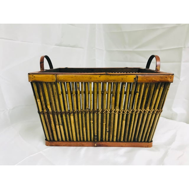 Vintage Hand Crafted Bamboo Basket For Sale - Image 10 of 10