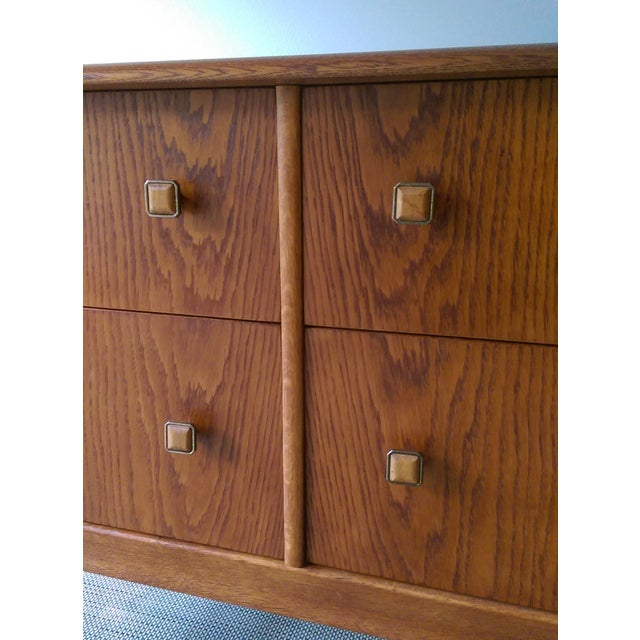 Oak Credenza with Custom Square Pulls - Image 7 of 10