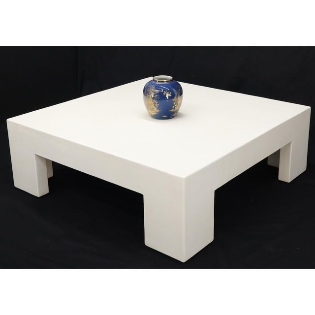 Robert Kuo Robert Kuo Large Square White Enamel Lacquer Coffee Table For Sale - Image 4 of 13