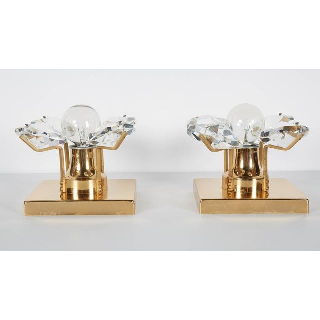 Metal Pair of Cut Crystal and Gold Hollywood Regency Sconces by Christoph Palme For Sale - Image 7 of 13