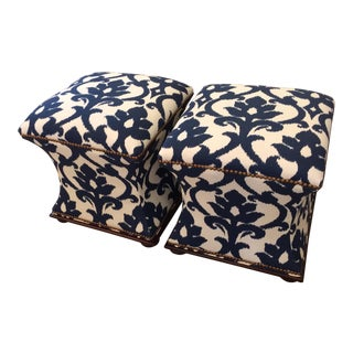 Hickory Chair Hourglass Shaped Upholstered Ottomans - A Pair