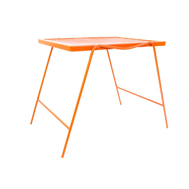 Mid century modern hermes orange metal patio side tables for Orange outdoor side table