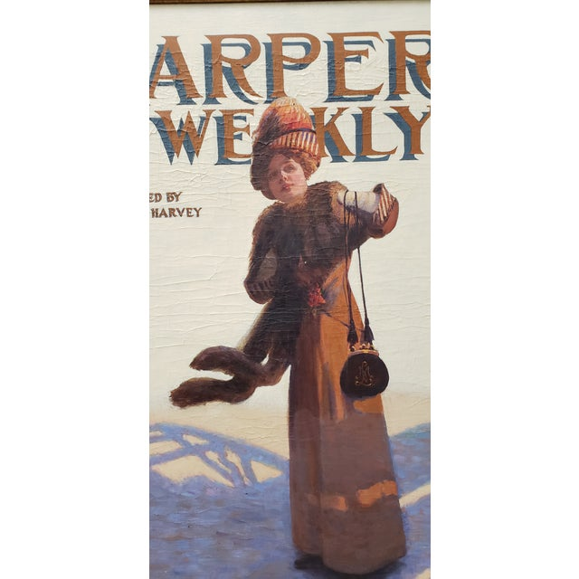 "Canvas George Watson Barratt (American, 1884-1962) ""Harpers Weekly"" Original Illustration C.1912 For Sale - Image 7 of 11"