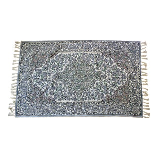 Vintage Crewel Embroidered Area Rug or Tapestry 64x36 With Fringe For Sale