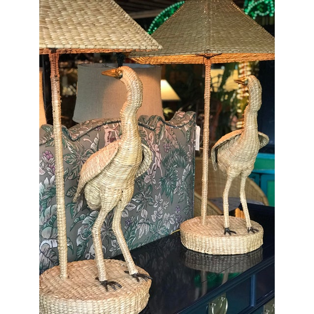 Extremely rare to get a PAIR of the tall Mario Lopez Torres Heron lamps and in amazing condition. Minor wear and tear due...