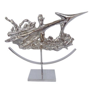 Brutalist Sagittarius Sculpture in Chrome by Philippe Cheverny For Sale