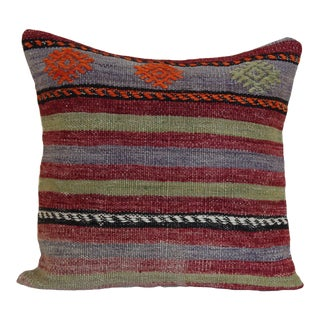 1970s Mediterranean Kilim Pillow Cover – 16x16 For Sale