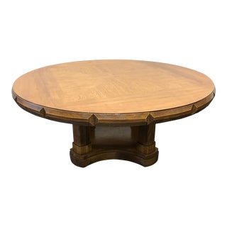 Thomasville Vintage Mid Century Pecan Neo-Classical Round Coffee Cocktail Table For Sale