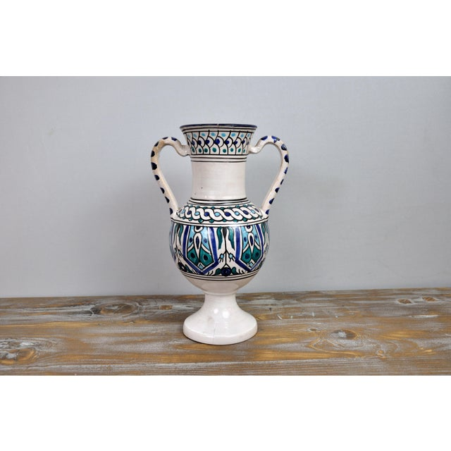 Handpainted Vintage Italian Blue and White Decorative Vase For Sale - Image 13 of 13