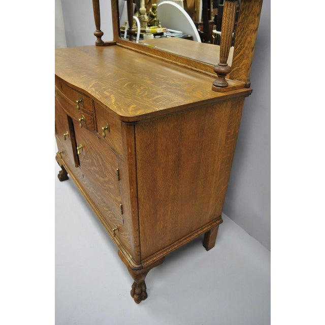 Antique Victorian Quartersawn Golden Oak Paw Foot Sideboard Mirrored Backsplash For Sale - Image 11 of 13