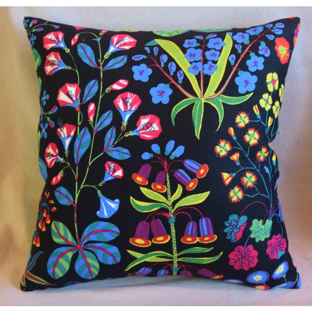 "Boho Chic Designer Josef Frank ""Under Ekatorn"" Floral Linen Feather/Down Pillows 18"" Square - Pair For Sale - Image 3 of 11"
