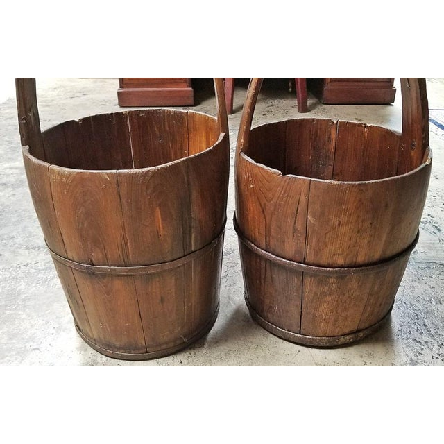 Iron Pair of 19c Oak and Iron Banded Water Buckets or Pails For Sale - Image 7 of 11