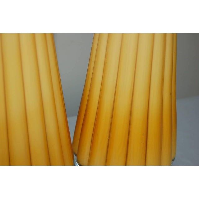 Vintage Murano Glass Pleated Table Lamps in Butterscotch For Sale - Image 9 of 10