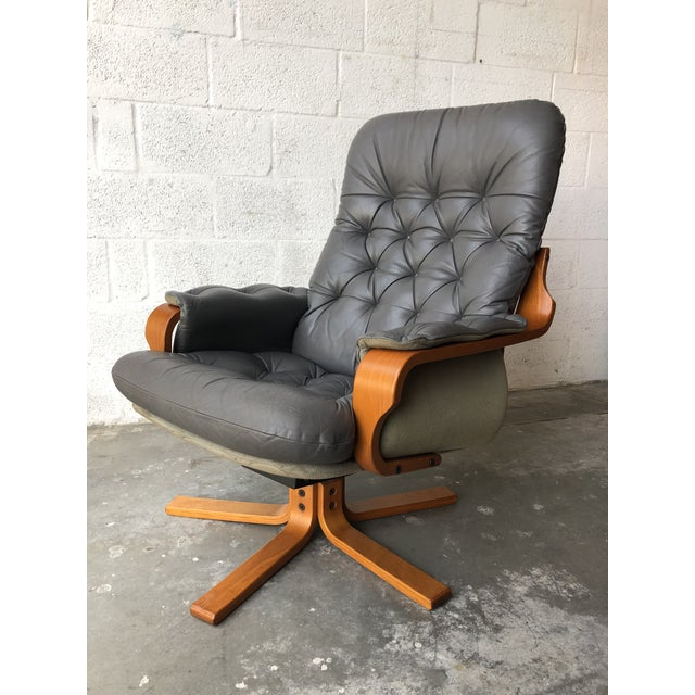 Vintage Mid Century Modern Scandinavian Lounge Chair & Ottoman For Sale - Image 4 of 13