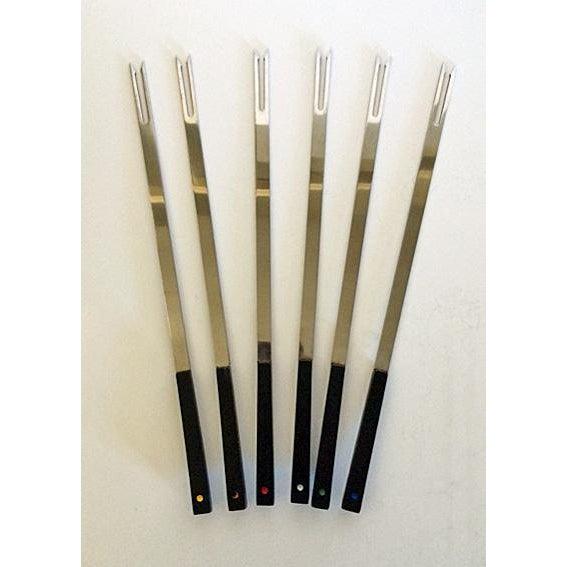 Bakelite Vintage Mid-Century Bakelite & Stainless Fondue Forks - Set of 6 For Sale - Image 7 of 7