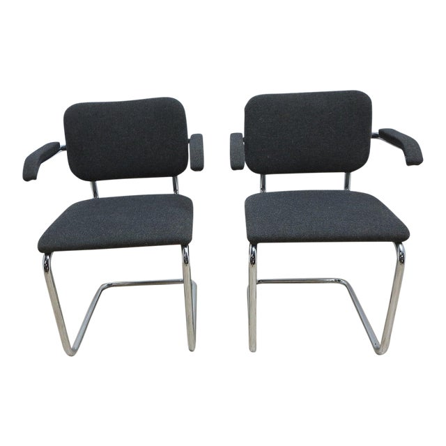 Knoll Arm Chrome Cantilever Arm Chairs - A Pair For Sale