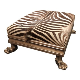 Hand Carved Silver Wood and Zebra Hide Ottoman