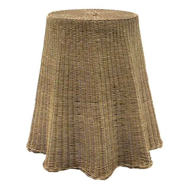 """Vintage Wicker Trompe l'Oeil """"Draped"""" Table For Sale - Image 12 of 12"""