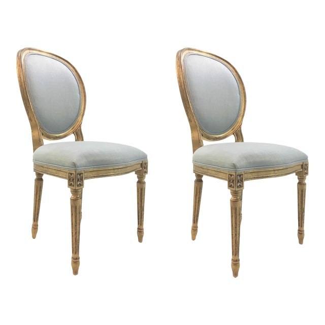 Currey and Co. French Style Palais Blue and Gold Side Chairs Pair For Sale