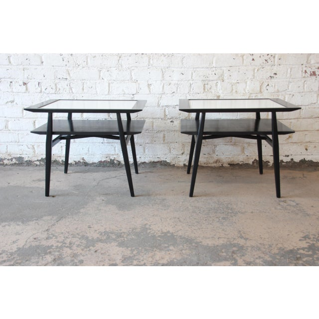 Bertha Schaefer for Singer & Sons Ebonized Mid-Century Modern End Tables- A Pair For Sale In South Bend - Image 6 of 13